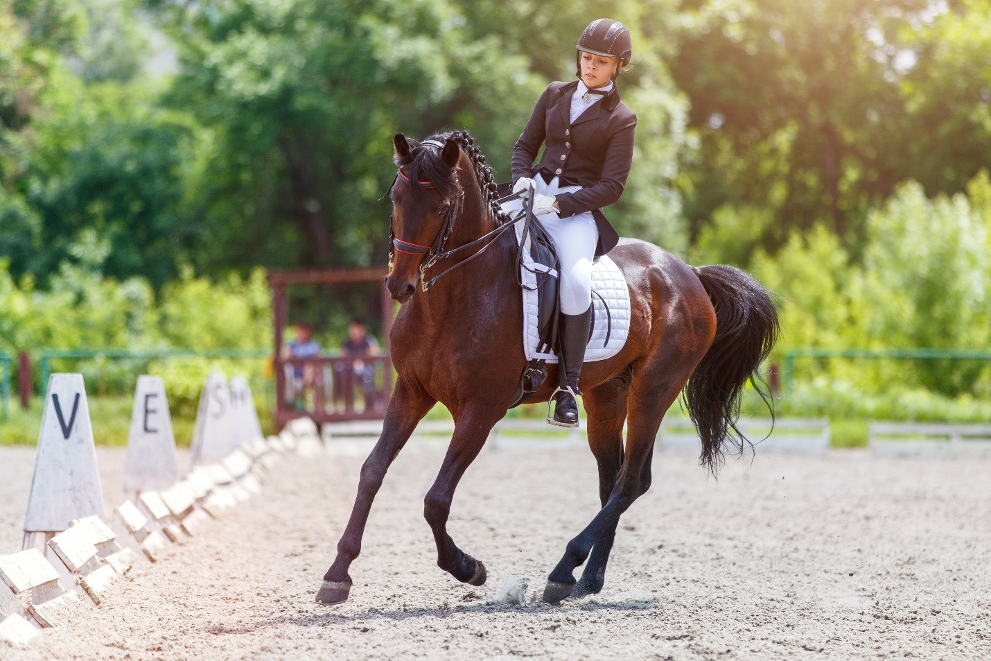 Young woman riding horse on equestriansport competition